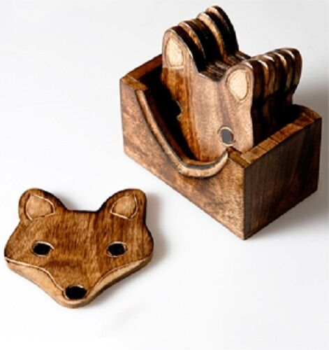 6 WOODEN FOX COASTERS WITH BOX IDEAL COASTER  SET FOR COFFEE TEA DRINKS