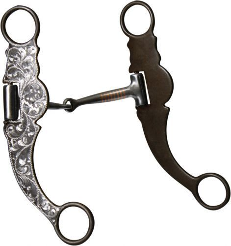 """Western Saddle Horse Show Bit Silver Engraved Brown Steel 5.25"""" for the Bridle"""