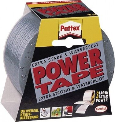 Pattex PT2DS Power Tape Klebeband Panzerband Wasserfest Silber 25 m x 50 mm Neu