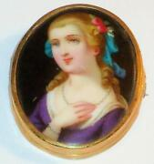 Antique Hand Painted Brooch
