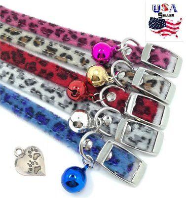 Leopard Print Collar + FREE Paw Print Charm - Small - dog, cat, puppy, pet, cute