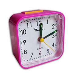 Travel Alarm Clock, No Ticking, Alarm, Snooze, Light, Pink