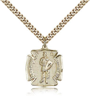 Saint Florian Medal For Men - Gold Filled Necklace On 24