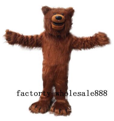 Adults Halloween Long Fur Brown Bear Mascot Costume suits Animal Cosplay UK - Bear Halloween Costume Uk