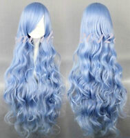 BRAND NEW: 90cm Long Curly Deluxe Light Blue Wig (356-0941)