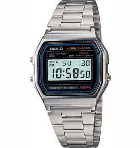 CASIO DIGITAL SILVER VINTAGE RETRO WATCH A158WA A158