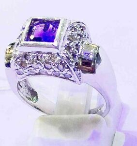 Diamond And Amethyst Ring In 14 KT White Gold