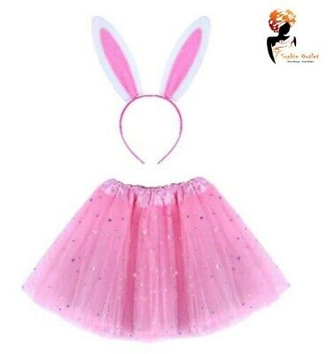 Pink Dress Costumes (PINK EASTER BUNNY Fancy Dress Costume Kids Ladies TUTU EARS Accessory Set)