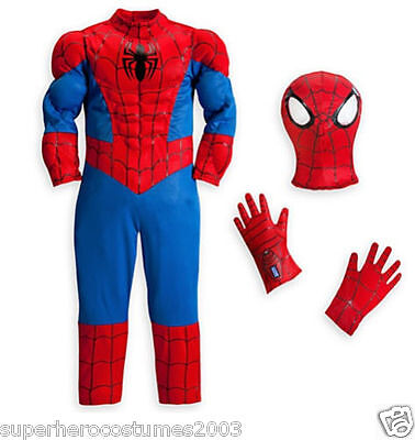 Spider-Man Muscle Deluxe Costume Disney Marvel Comics Brand New SIZE - Spiderman Costume Deluxe