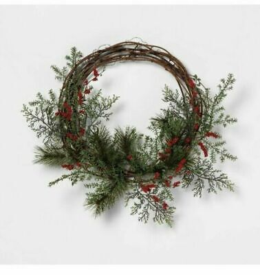 - Hearth and Hand Red Berries Pine Twig Christmas Wreath Wreath Joanna Gaines