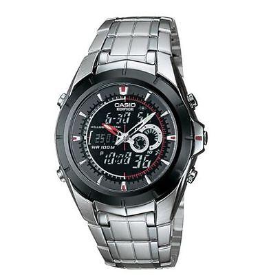 Casio Edifice Chronograph Alarm - Casio Edifice Combo Silvertone Watch, 100 Meter WR, Chronograph, EFA119BK-1AV