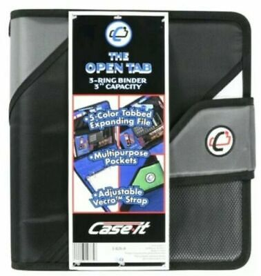 The Open Tab 3-ring Binder 3 Capacity Adjust Velcro 5 Color Tabs Black