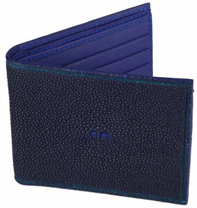 Men's Stingray Leather Bi-Fold Wallet with ID Holder, Blue w/ Bl