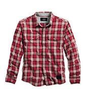 Mens Red Black Plaid Shirt