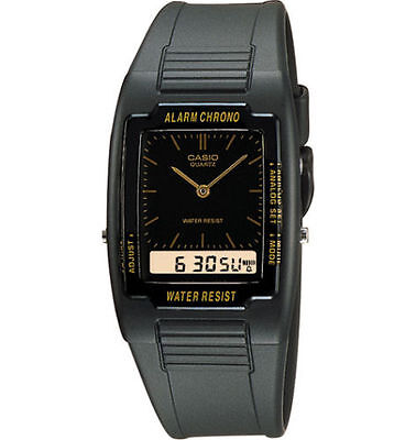 Casio AQ47-1E,  Analog/Digital Chrnograph Watch, Black Resin Strap, Alarm