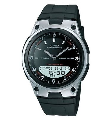 Casio AW80-1AV, Combo Watch, Databank, Black Resin, 3 Alarms, 10 Year Battery