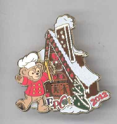 WDW Disney Epcot Chef Duffy Teddy Bear Gingerbread House LE Pin & Card