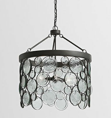 Pottery Barn Emery Indoor/Outdoor Recycled Glass Chandelier, NEW in box