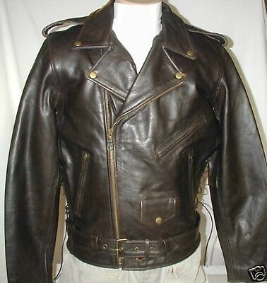 Classic Retro Brown Premium Leather Motorcycle Jacket Size 5XL Retail $229