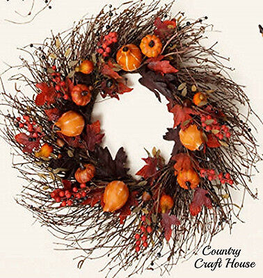 New Primitive Rustic LARGE PUMPKIN GOURD BERRY LEAVES Fall Grapevine Twig Wreath - Large Grapevine Wreath