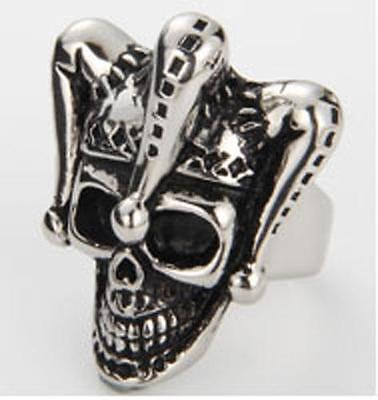 JESTER CLOWN SKULL STAINLESS BIKER RING #550-S MENS WOMENS jewelry CLOWNS new](Jester Skull)