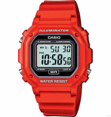 Casio F108WHC-4A, Digital Chronograph Watch, Red Resin, Alarm, 7 Year Battery