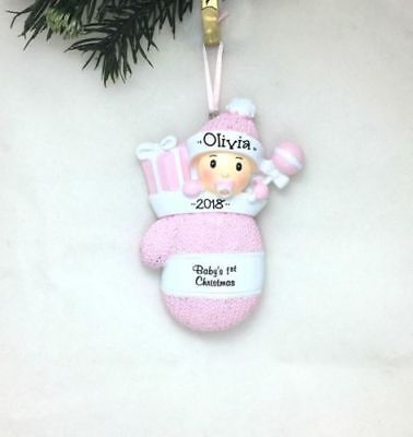 CHRISTMAS GIFT Pink Girl Mitten Personalized Christmas Ornament New Baby's 1st