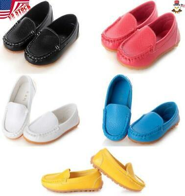 Kids Baby Boys Girls Oxford Flat Boat Shoes Loafers Slip On PU Leather Solid USA