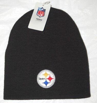 Pittsburgh Steelers Football Team Logo NFL Black Cuffless Beanie Knit Cap Hat Team Nfl Football Hat