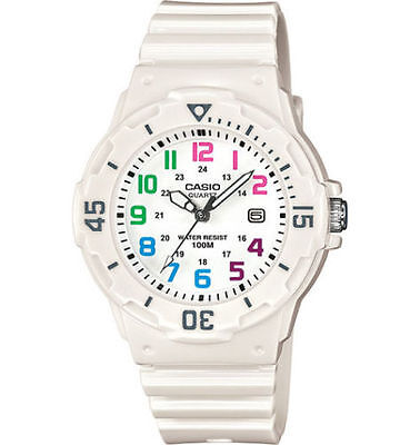 Casio LRW200H-7BV, Women's Analog White Resin Band, 100 Meter, Date