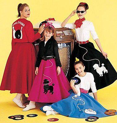 Misses'/Girls' Costumes Sock Hop Poodle Skirt Sewing Pattern Size Large](Miss Sock Hop Costume)