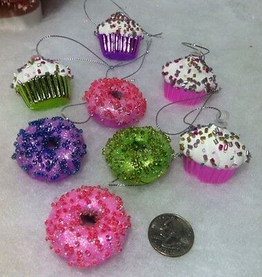 Miniature  Doughnut, Cupcake, with Candy Sprinkles, Christmas tree Ornaments