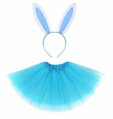 BLUE EASTER BUNNY TUTU EARS Fancy Dress Costume Kids Ladies Accessory Set New UK