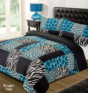 LEOPARD ANIMAL PRINT ZEBRA BLACK TEAL BLUE SINGLE bed QUILT DOONA COVER SET