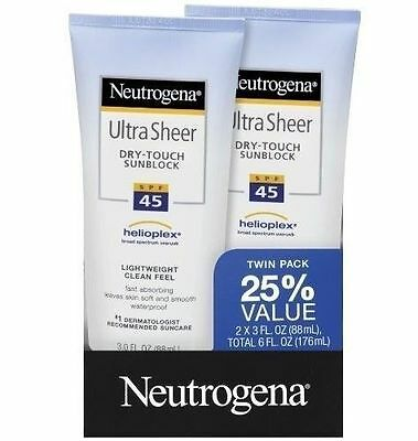 Neutrogena Ultra Sheer Dry-Touch Sunscreen, SPF 45 Value Pack 2 ea for sale  Shipping to India