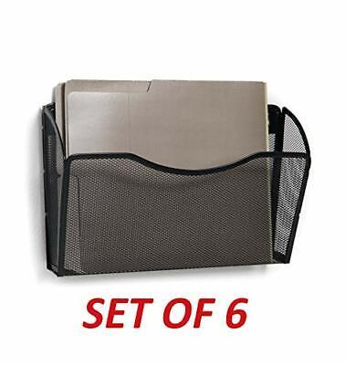 Folder Holder Rack Wall Mount Hanging File Organizer Storage Mesh Metal Black
