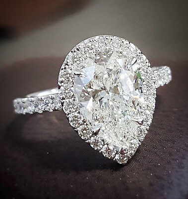 1.70 ct. Pear Cut Diamond Halo Pave Engagement Ring Tear Drop Ring GIA H, VS2