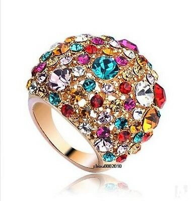 18K Rose Gold Colorful Crystal luxury Ring . China post EMS all-the-way tracking