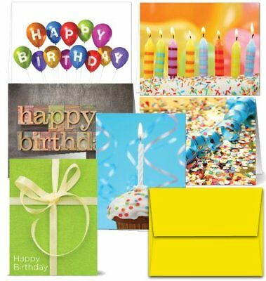 36 Pcs Happy Birthday Greeting Cards Design Assorted Lot Set + Yellow Envelopes