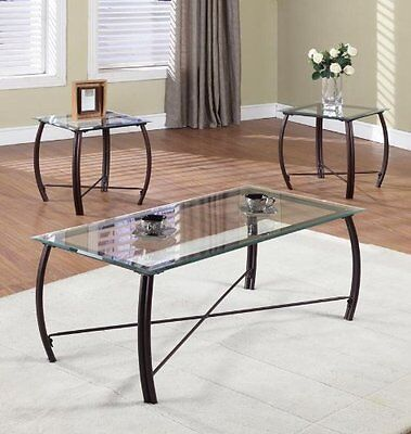 Glass Coffee Table & End Table 3 Pc Set Modern Living Room Furniture Top Metal  ()