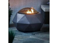 Aldi Faux stone fire pit, with bbq grill. outdoor garden firepit log burner chimenea grill barbecue