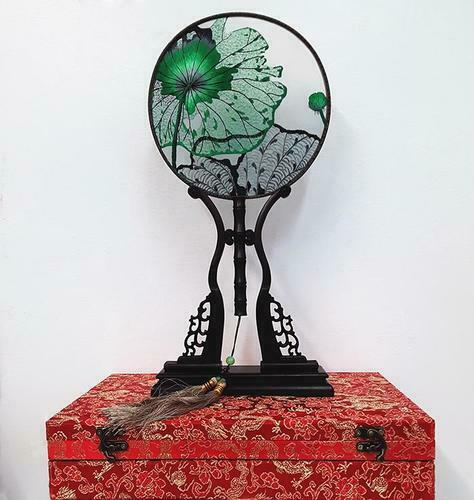 Chinese SuZhou Silk Embroidery Fan (With Decorative Case and Stand) | LOTUS LEAF