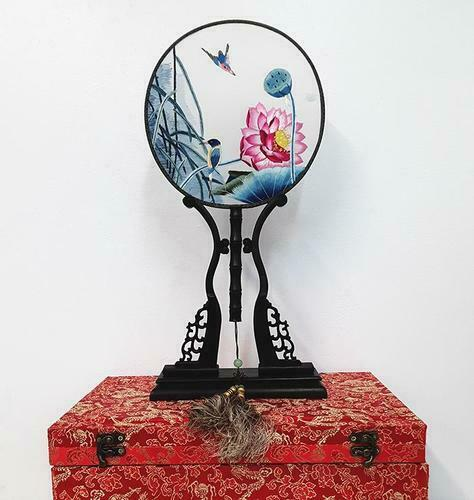 Chinese SuZhou Silk Embroidery Fan (With Decorative Case and Stand) | LOTUS