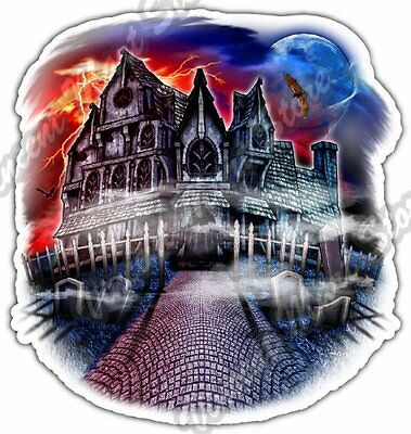 Spooky House Halloween Ghost Haunted House Car Bumper Vinyl Sticker Decal 4