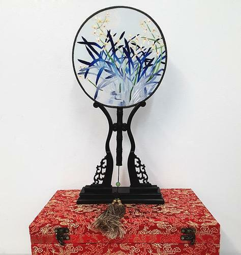 Chinese SuZhou Silk Embroidery Fan (With Decorative Case and Stand) | ORCHID
