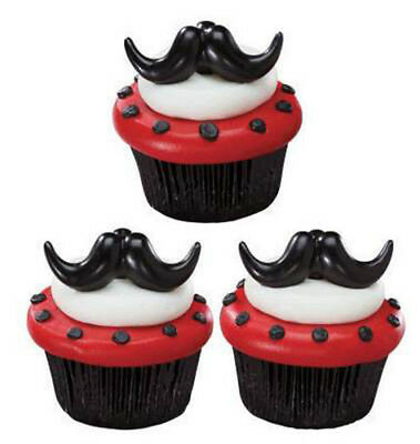 24 Stache Bash Mustache Moustache Cupcake Rings Decorations Cake Toppers F