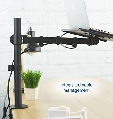 Laptop Notebook Desk Mount Stand Fully Adjustable Extension C Clamp Stand Black ()