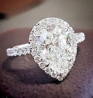 1.80 ct. Pear Cut Diamond Tear Drop Halo Pave Engagement Ring GIA H, VS2 18KWG