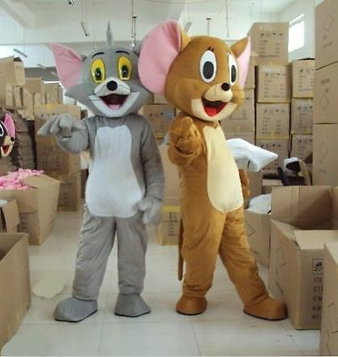 Cat And Mouse Costume (Hot Tom Cat and Jerry Mouse Mascot Costumes Cartoon Costume Party Fancy)