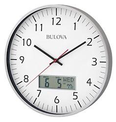 Bulova C4810 Manager Wall Clock, Silver